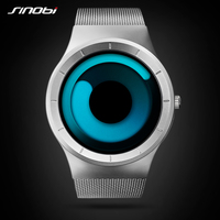 SINOBI New Creative Unisex Concept Wrist Watches Mesh Watchband Luxury Brand Men Fashion Geneva Quartz Clock