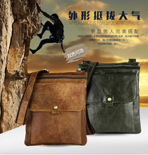 Free shipping 2016 genuine leather bag casual fashion bag messenger bag brief satanisms