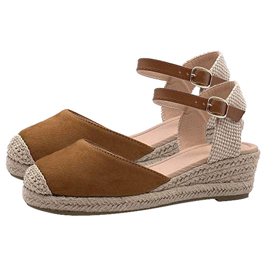 SAGACE Fashion Women Sandals Plus Size Hemp Buckle Ankle Strap Sandals Wedges Summer Weaving Breathable Casual Ladies Shoes Jul3(China)