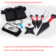 A/B/C 3 Styles 7pcs/lot Anime Naruto Uzumaki Kunai Shuriken Konoha Wearing necklace Pendant Props Set toy gifts