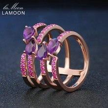 Lamoon Кольца натуральный аметист стерлингового серебра 925 пробы коктейль роза фиолетовый Многослойные полое кольцо Уникальный Мода Красивые ювелирные изделия