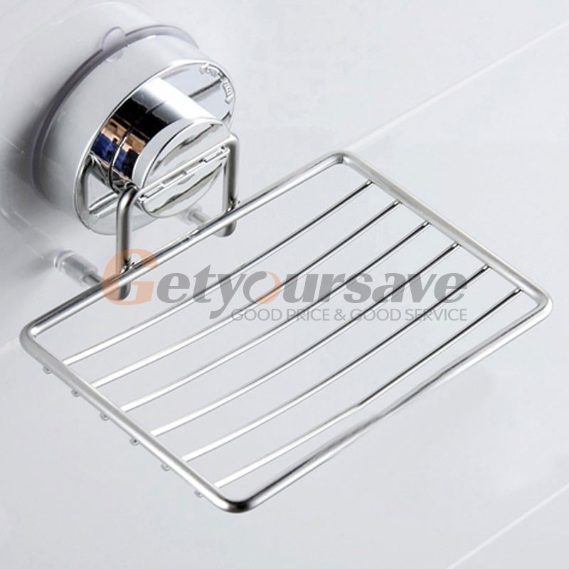 Stainless Steel Suction Cup Bathroom Soap Holder Shower Soap Dish Bathroom Tray Accessories Box Shelf Wall Dishes Shelves