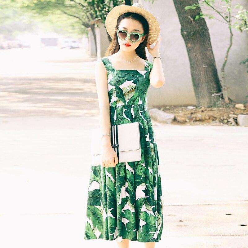 Womens Retro Vintage summer sleeveless High waist slim A-Line dress Ladies banana leaf print pleated Spaghetti Strap Dresses