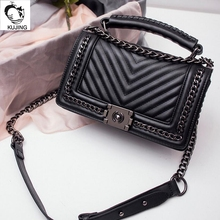 High-end KUJING women's aristocratic Lingge chain anti-theft business handbag ladies party casual shoulder diagonal package