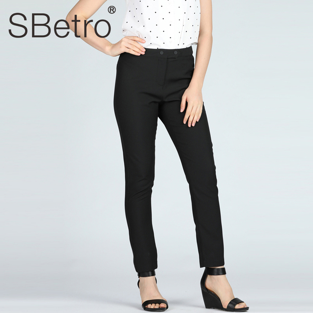 SBetro Women Black Pencil Pants Solid Long Solid Female Office Lady Work Cargo Trousers with Zipper Autumn Spring