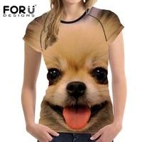 FORUDESIGNS Cute Dog Pomeranian Prints T Shirt Women Casual Basic T Shirts O Neck Short Sleeved