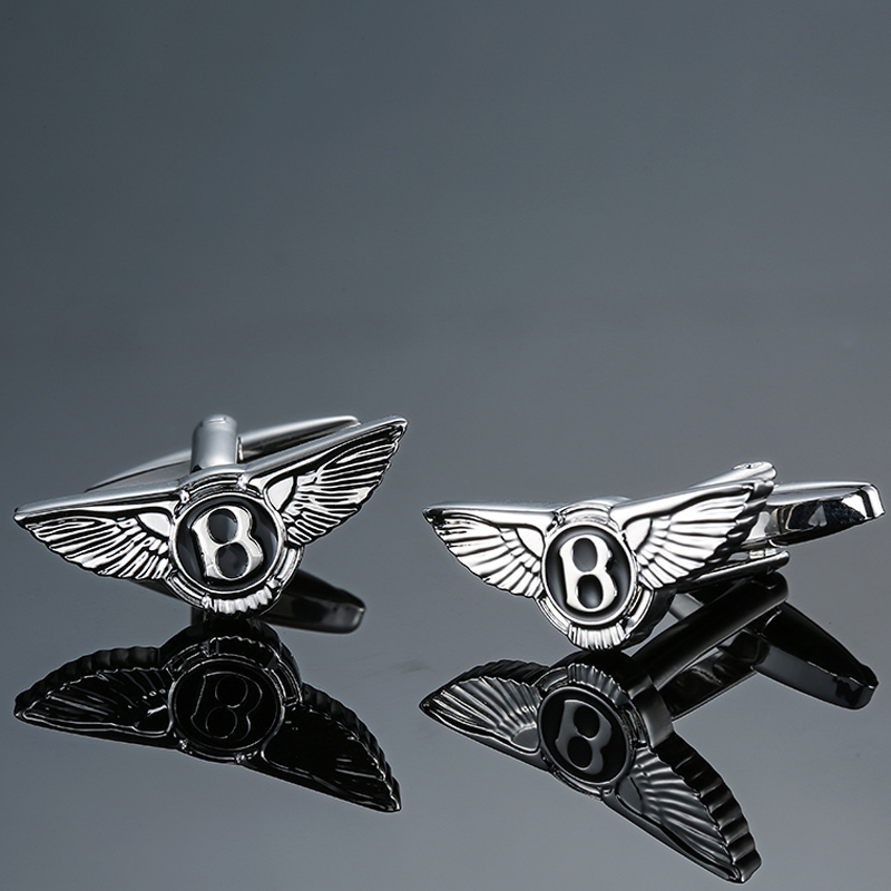 DY The new high-grade luxury brand B Silver wings Bentley car logo Cufflinks fashion Mens French shirt Cufflink free shipping