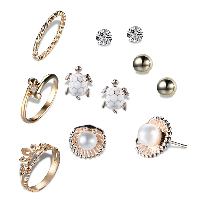 H:HYDE Punk Rings Earrings Sets Brincos Mixed Anillos For Women Crystal Ear Studs Anel Fashion Crystal Simulated Pearl Jewelry