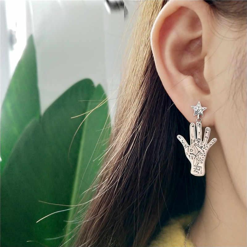 Inzatt Vintage Nyata 925 Sterling Perak Kepribadian Tangan Takdir Menjuntai Drop Anting-Anting untuk Wanita Fashion Perhiasan Punk Hadiah