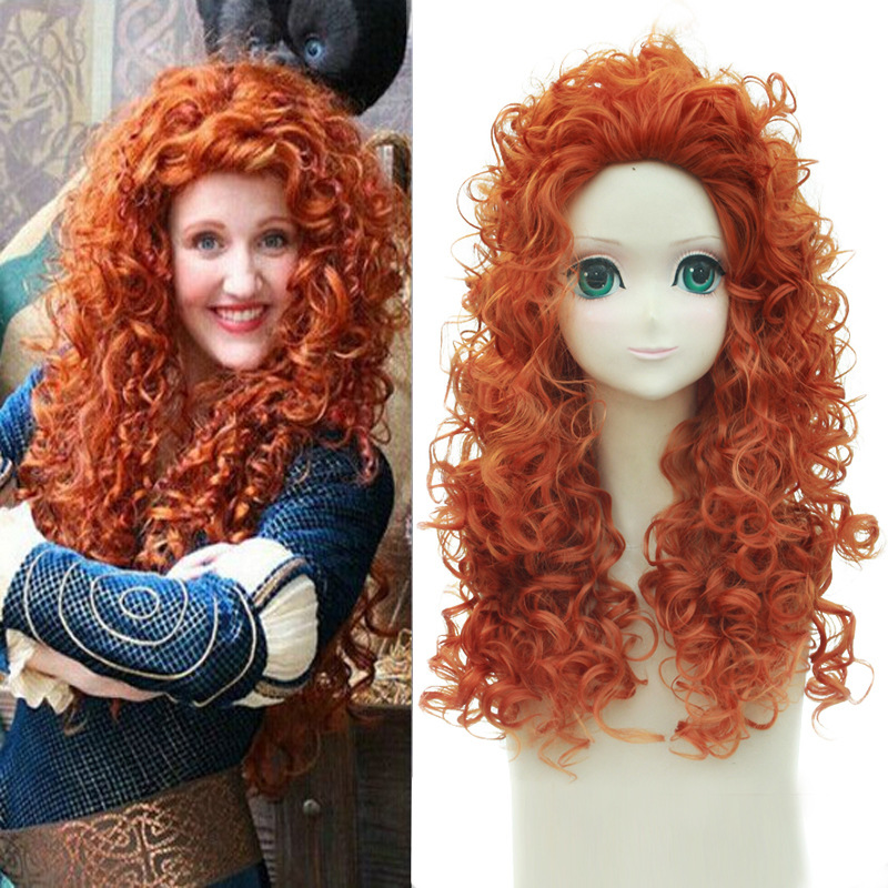 Movie Brave Princess Merida Cosplay Wig Synthetic Orange Hair Long Curly Wigs For Anime Halloween Costume Party