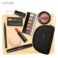 FOCALLURE 8Pcs Cosmetics Makeup Set Powder Eyeshadow Eyebrow Volume Mascara Sexy Lipstick Lip Gloss Make Up