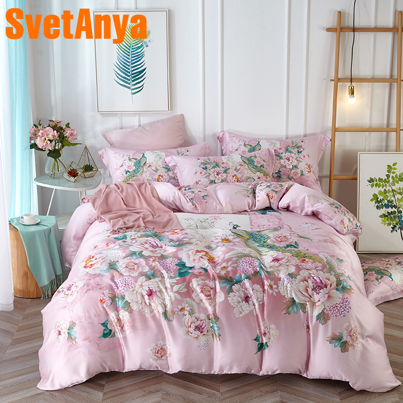 Svetanya Soft Artificial Silk Bedding Set Peacock Print Bedlinen Queen Double King Size Bedsheet Pillowcase Duvet Cover Sets Svetanya Soft Artificial Silk Bedding Set Peacock Print Bedlinen Queen Double King Size Bedsheet Pillowcase Duvet Cover Sets