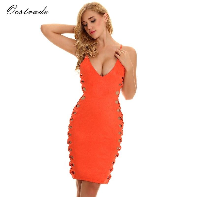 Ocstrade пикантные Для женщин бинты Bodycon рукавов вечернее Новое поступление 2017 года оранжевый решетки Cut Out Бандажное Платье район
