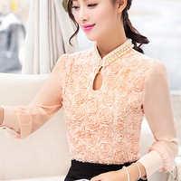 2016 New Style Women Chiffon Blouse Sexy Flower Beaded Lace Tops Long Sleeved Casual Women Shirt