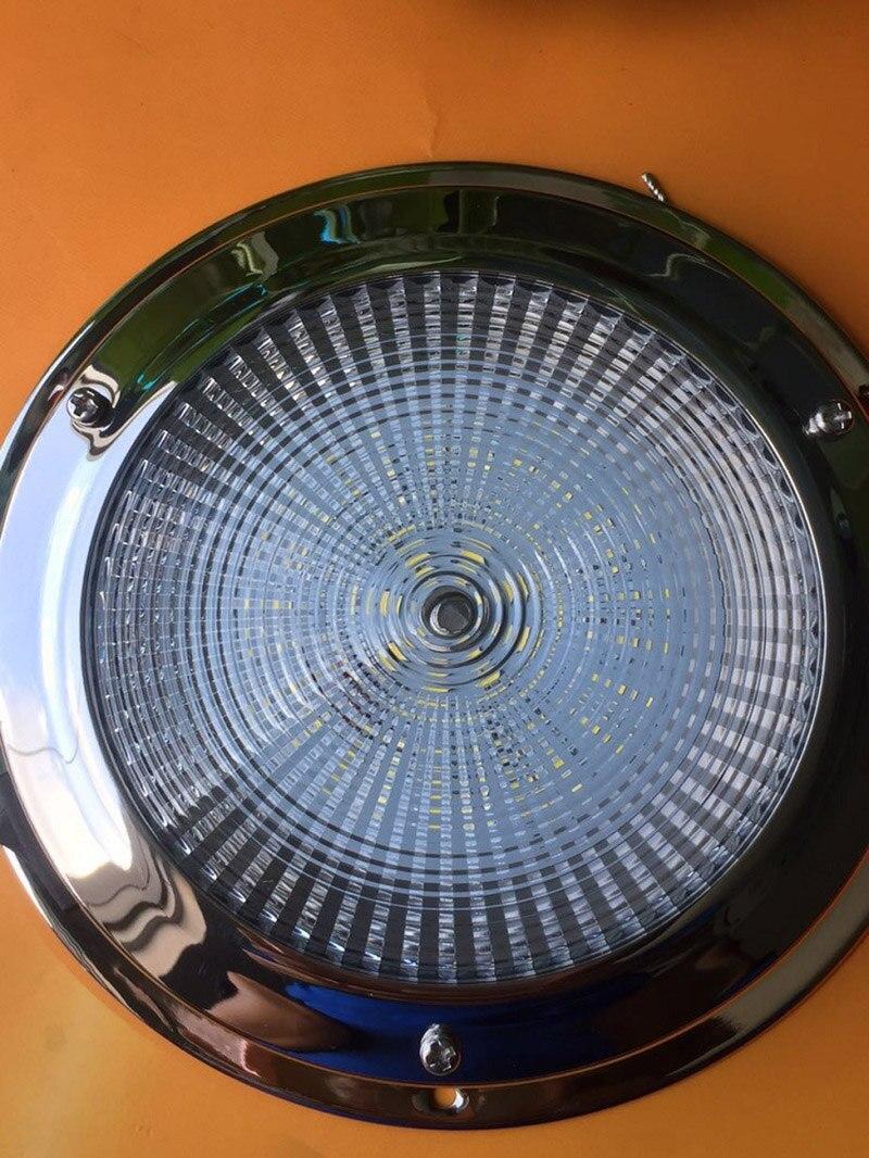 """Image 2 - 12 В светодиодный купольный свет из нержавеющей стали, Морская Лодка, яхты, каравен, дом 4 """"/5"""", автомобильный потолочный светильник для помещений-in Морское оборудование from Автомобили и мотоциклы"""