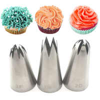 3pcs big size DIY Cream Cake Icing Piping Nozzles Pastry Tips Fondant Cake Decorating Tip Stainless Steel Nozzle Baking 1M 2F 2D