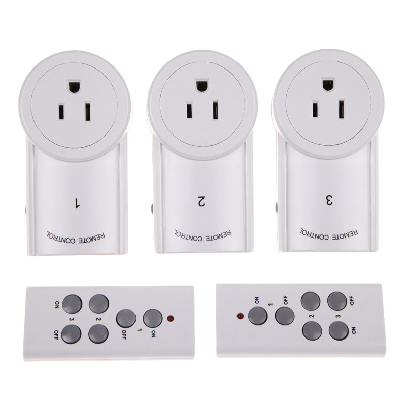 3 Pack Wireless Remote Control Smart Socket Power Outlet Switch Home RC ON/OFF Outlet with 2 Remote Control US Plug Standard 3 pack wireless remote control power outlet switch plug socket infrared heater panel wireless socket
