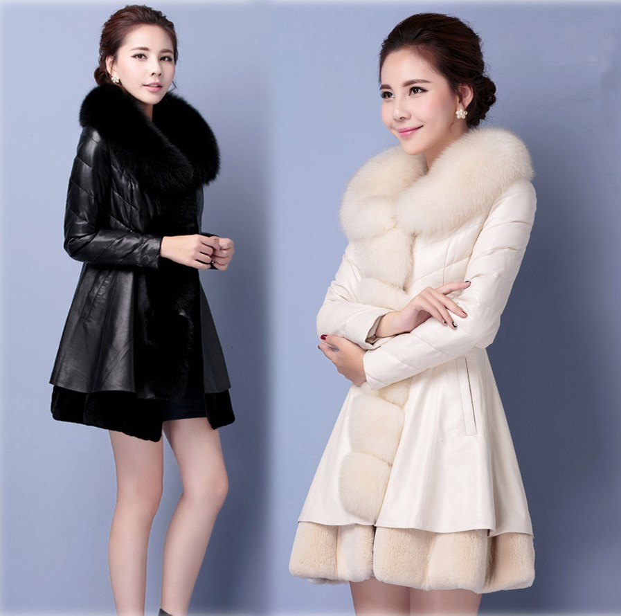 2017 Winter Luxury Plus Size Fox Fur Collar font b Jacket b font font b Women