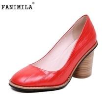 Новые Женщины Натуральная Кожа Туфли На Каблуках Женщины Инопланетные Каблуки Насосы Круглым Носком Туфли Классика Мода Обувь размер 34-43