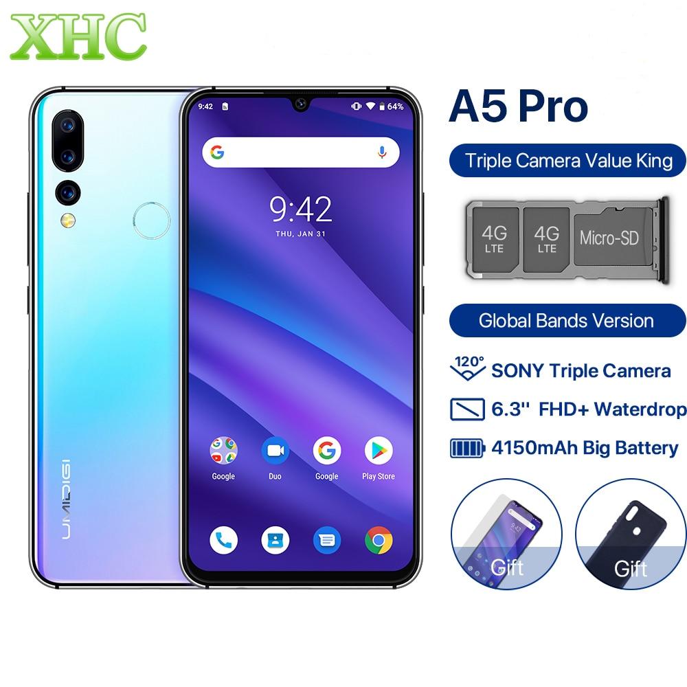 Versão global umidigi a5 pro android 9.0 octa núcleo do telefone móvel 6.3 ffhd + 16mp triplo câmera 4 gb ram celular duplo sim smartphone