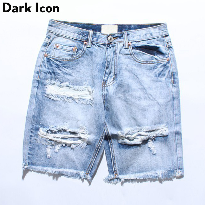 DARK ICON Denim Destroyed Shorts Men 2019 Summer Ripped Hip Hop Shorts Men Cool Men's Short With Hole