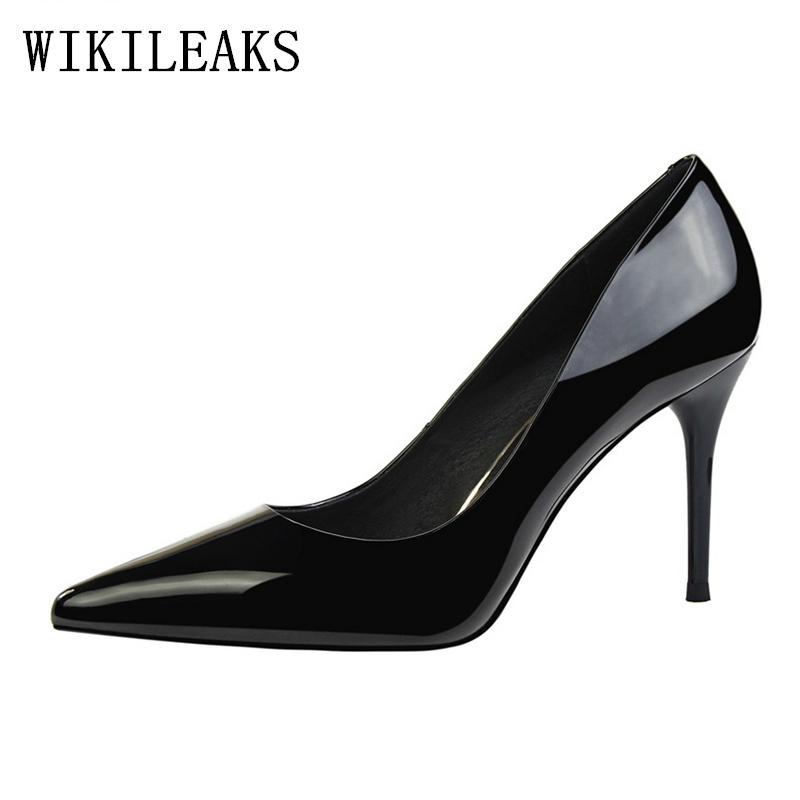 sexy high heels women shoes patent leather studded high heel pumps bigtree shoes woman zapatos mujer tacon ladies wedding shoes brand women shoes high heels 12cm sexy pumps shoes for women patent leather high heels wedding shoes woman high heel b 0054
