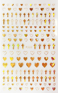 Image 4 - 1 Sheet 4 Colors Empty Solid Cross Heart Shape Self Adhesive Nail Art Stickers DIY Tips F333#