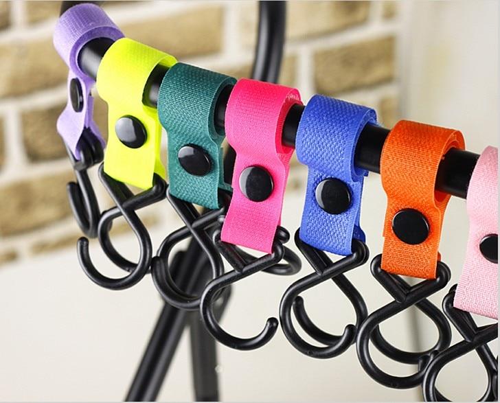 4Pcs Baby Stroller Hook Clips Strap Hanger Pushchair Hanging 2 Hooks Multi Purpose Wheelchair Car Seat Swiveling Hooks