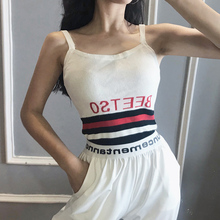 2019 Summer Women Letter Tank Tops Female Casual Sexy Sleeveless Crop Camis Club Camisoles Ladies Short