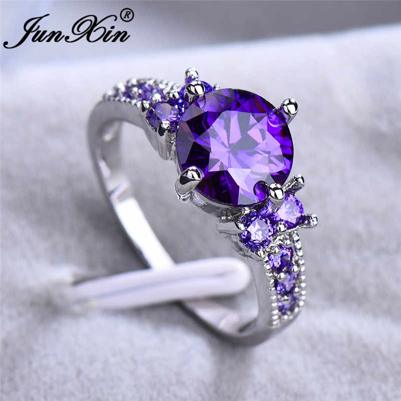 JUNXIN Multicolor Stone Rainbow Fire Birthstone Rings For Women 925 Sterling Silver Filled Purple Blue Zircon Thin Wedding Ring