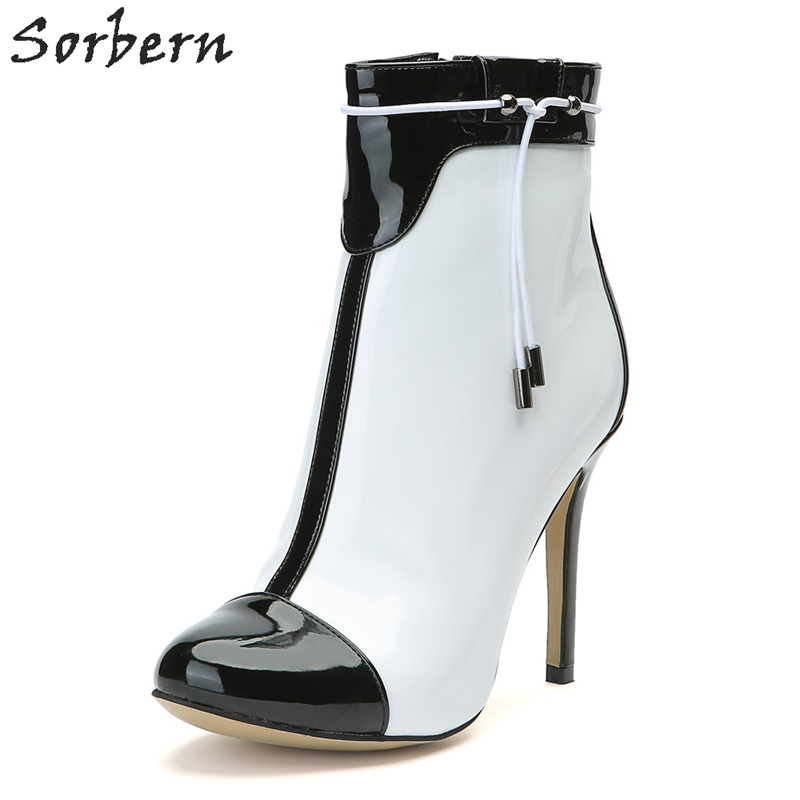 Sorbern White Black Women Ankle Boots Patent Leather Custom Color Plus Size Party Boots Botas Feminina Botines Mujer 2018 lace insert crop top and lace insert skirt twinset