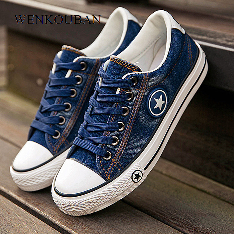 Women Sneakers Casual Canvas Shoes Denim Plus Size 34-44 Summer Female Stars Trainers Ladies Lace-up Basket Femme Tenis Feminino aselnn 2017 women ripped jeans femme plus size vintage female 2017 ladies blue denim pants pencil casual brand fashion
