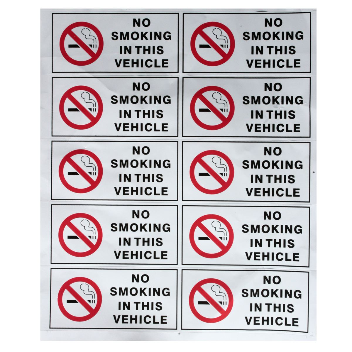 10Pcs NO SMOKING IN THIS VEHICLE Stickers Signs Vinyl