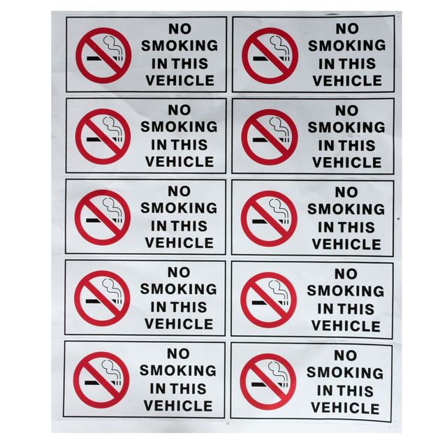 10pcs no smoking in this vehicle stickers signs vinyl waring mark safety decal cars taxi hgv