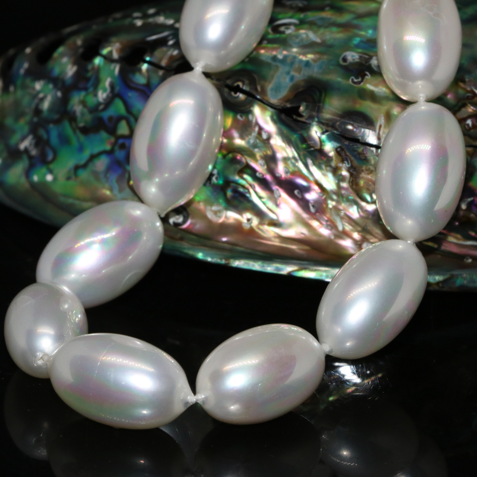 Free shipping high grade natural 12*20mm white shell pearl beads rice barrel shape loose beads jewelry making 15inch B2273