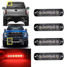Car-Styling Bright Red 6 LED Car Truck Van Beacon Strobe Warning Flashing Emergency Grille Police Light