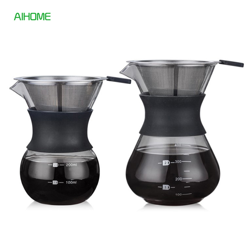 200ml/400ml Pour Over Coffee Maker Filter Dripper Glass Container Coffee Percolators Stainless Steel Coffee Filter