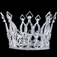 4 Height Bridal Luxury Full Crown Clear Rhinestone Crystal Headband Silver/Gold/Rose Gold Tiara Pageant Prom Wedding Crowns