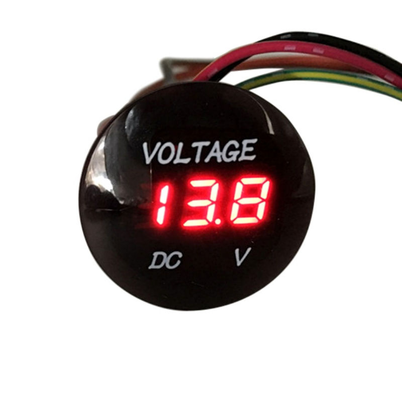 1pc 2 In 1 Red LED Universal Voltmeter Waterproof Digital Voltmeter Applies to 12/24V Universal Car Truck Voltage Meter 3 in 1 multifunctional car digital voltmeter usb car charger led battery dc voltmeter thermometer temperature meter sensor
