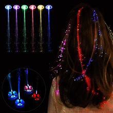 1pcs Glow Blinking Hair Clip Flash LED Braid Show Party Toys Kids Headwear Colorful Luminous Braid Optical Fiber Wire Hairpin(China)