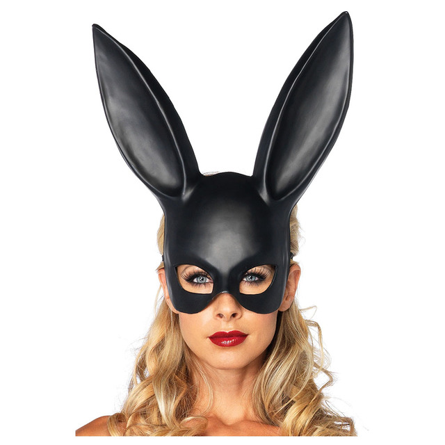 womens masquerade rabbit mask sexy bondage bunny long ears carnival halloween costume party bar ktv makeup - Halloween Costumes With A Masquerade Mask