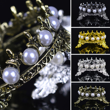 2019 New Arrival High Quality Crown Inlaid Pearl Rhinestone Nail Pen Rack Manicure Brush Stand Holder Tool For Nail Pens