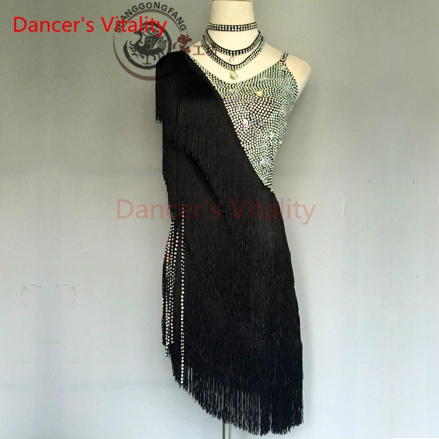 Dancers Vitality Tassel Diamond Back Skewed Opening Latin Dance Dress Women Samba Salsa Tango Dress For Latin Competition Dress