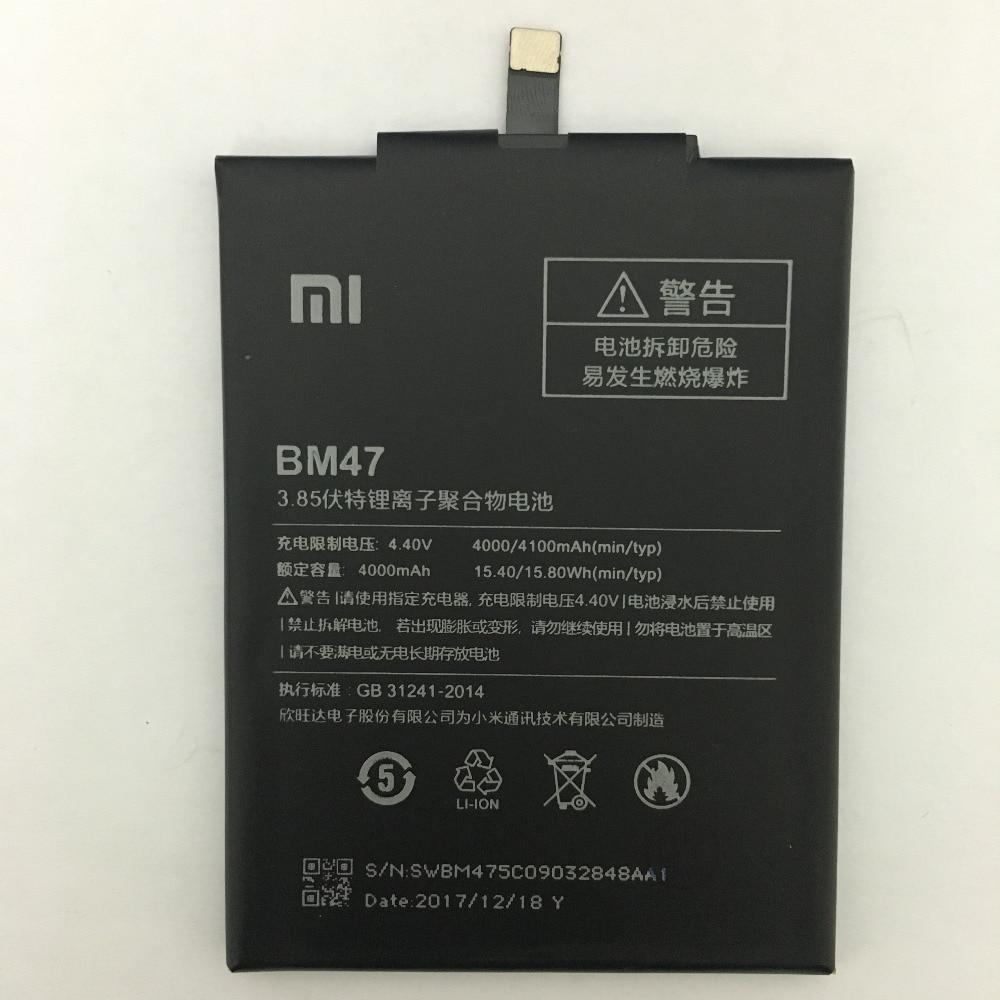 4000mAh BM47 Battery For Xiaomi Redmi 3S Redmi 3X Redmi 4X Hongmi 3 S Redrice Hongmi 3 Bateria Baterie
