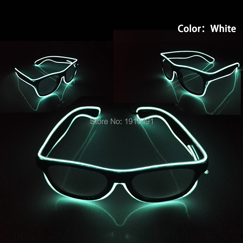 2AA Music Sensitive EL Converter with White Led Light Up Sunglasses Novelty Lighting Luminous EL Wire Cold Light Glasses for Bar