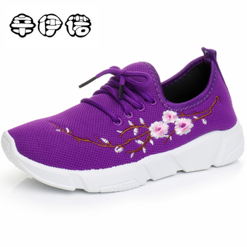 Embroidery Brand shoes woman women casual shoes mesh air mesh lace-up rubber breathable round toe zapatos mujer tenis feminino women shoes casual shoes lightweight summer beach flats shoes women loafers breathable air mesh zapatos mujer tenis feminino u1