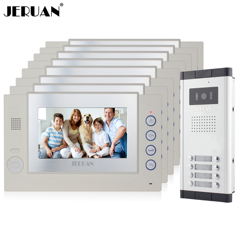 JERUAN Apartment 8 White Doorbell 7`` Video Door Phone Record Intercom System 1 HD IR Night Vision Camera for 8 Household 8GB SD jeruan new apartment 7 inch touch key video intercom door phone system 2 white monitor 1 hd ir camera for 2 household