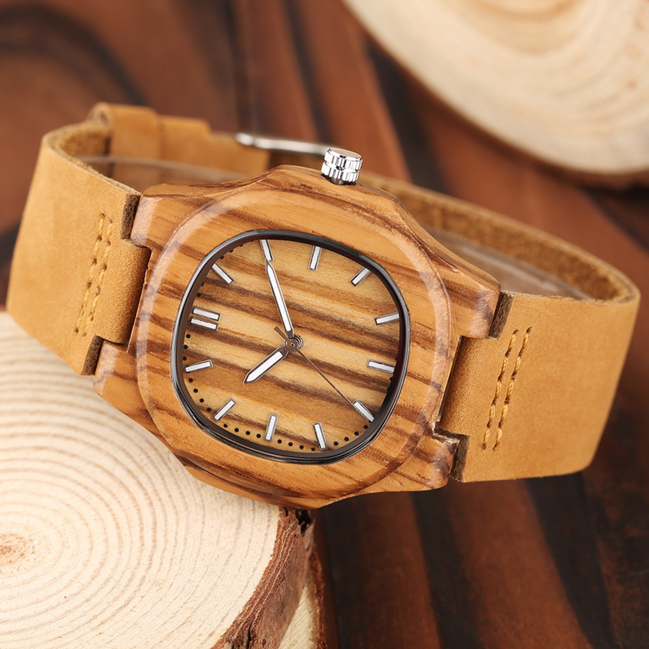 2017 New arrivals Wood Watch Natural Light Wooden Face Fashion Genuine Leather Bangle Unisex Gifts for Men Women Reloj de madera Christmas Gifts (22)