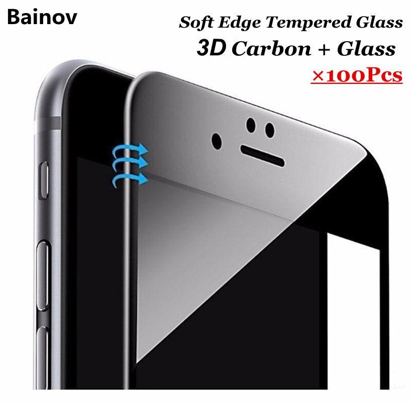 Цена за Bainov 100 шт./лот 9 H 0.26 мм Глянцевая Углеродного Волокна 3D Изогнутый Край Покрытием для iphone 6 6s plus 7 7 плюс телефон защитная пленка