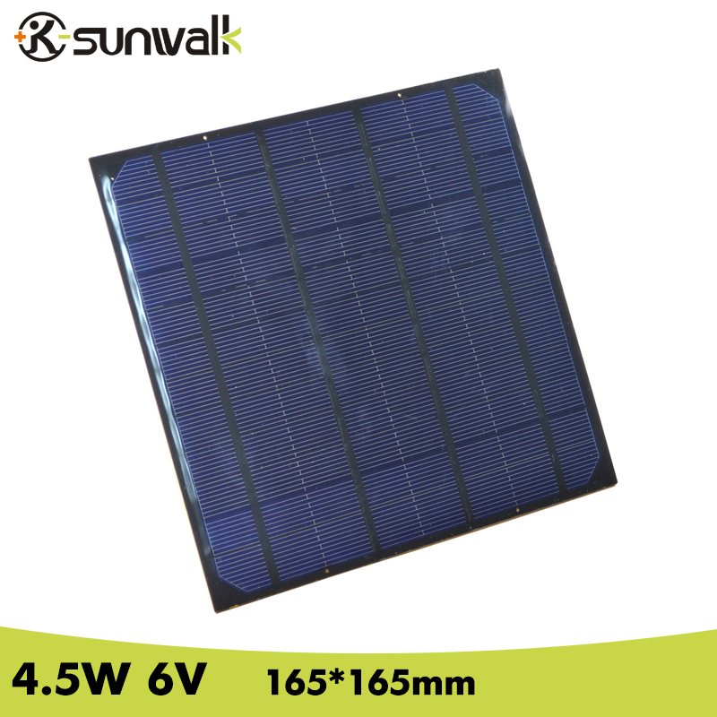 SUNWALK 4.5W Mono Solar Cell Panel 750mA DIY 6V Solar Panel for Mini Solar System DIY and Education 165*165mm